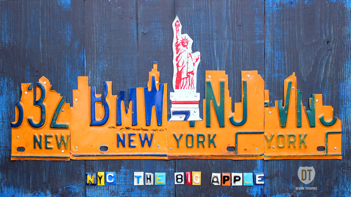 New York City Skyline License Plate Art