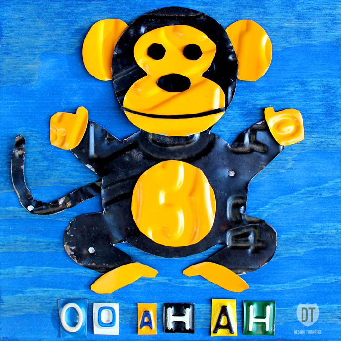 License Plate Art Monkey Animal Oo Ah Ah