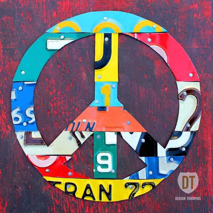 Peace Sign License Plate Art