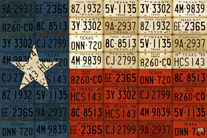 Texas Flag Lone Star State License Plate Flag Art