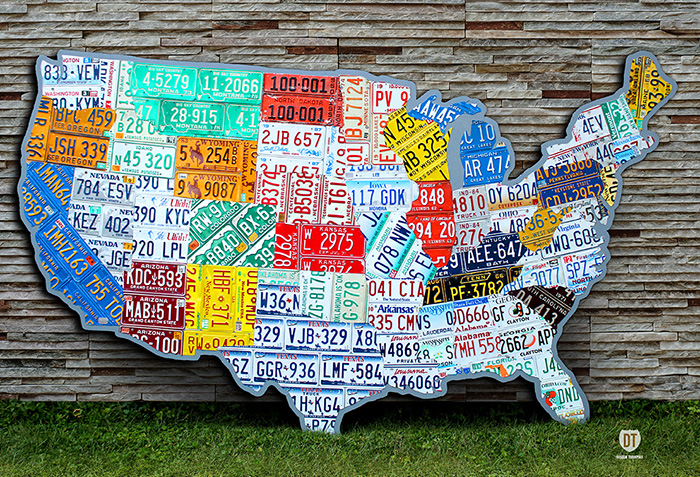 License Plate Art And License Plate Maps By Design Turnpike - Us map made out of license plates