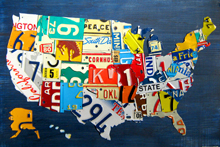 Small United States License Plate Map Metal Art