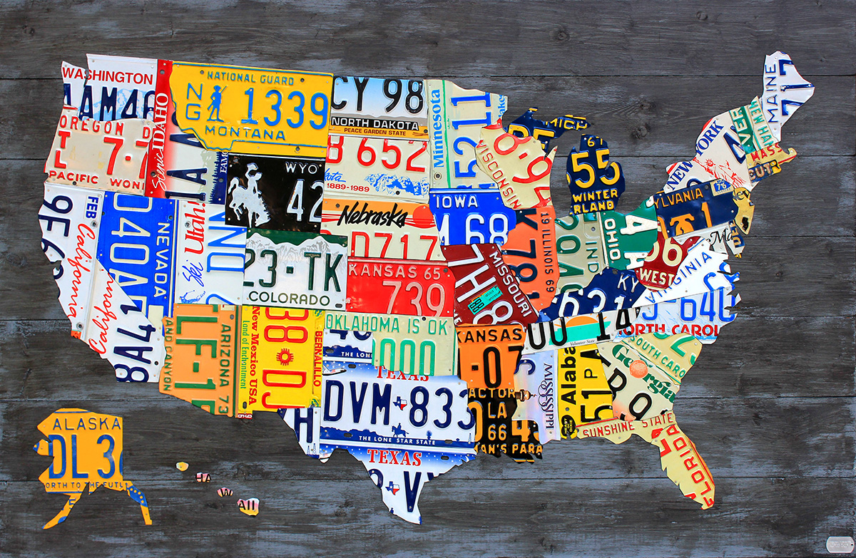 License Plate Art And License Plate Maps By Design Turnpike - Us licence plate map
