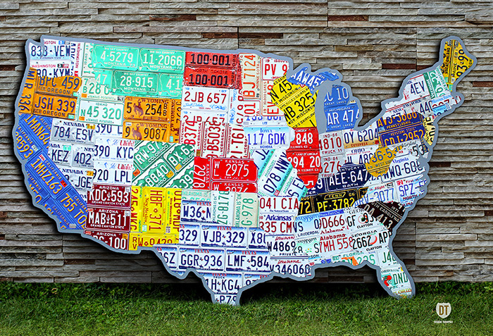 Purchase USA License Plate Maps By Design Turnpike - Huge us map