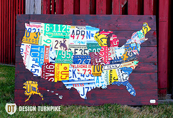 Purchase USA License Plate Maps By Design Turnpike - Us liscense plate map