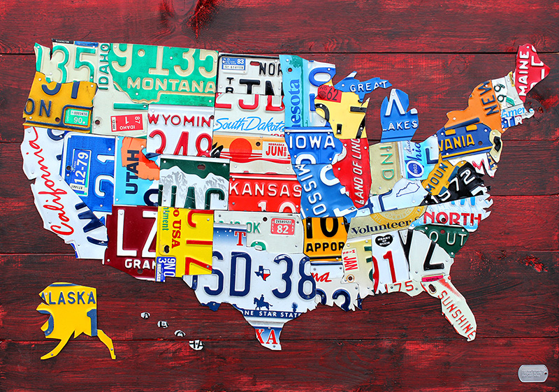Purchase USA License Plate Maps By Design Turnpike - Hobby lobby us map