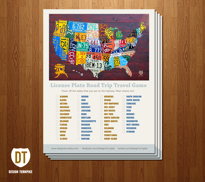 License Plate Art Map Print Poster