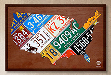 United States License Plate Map Our Colorful History Metal Art