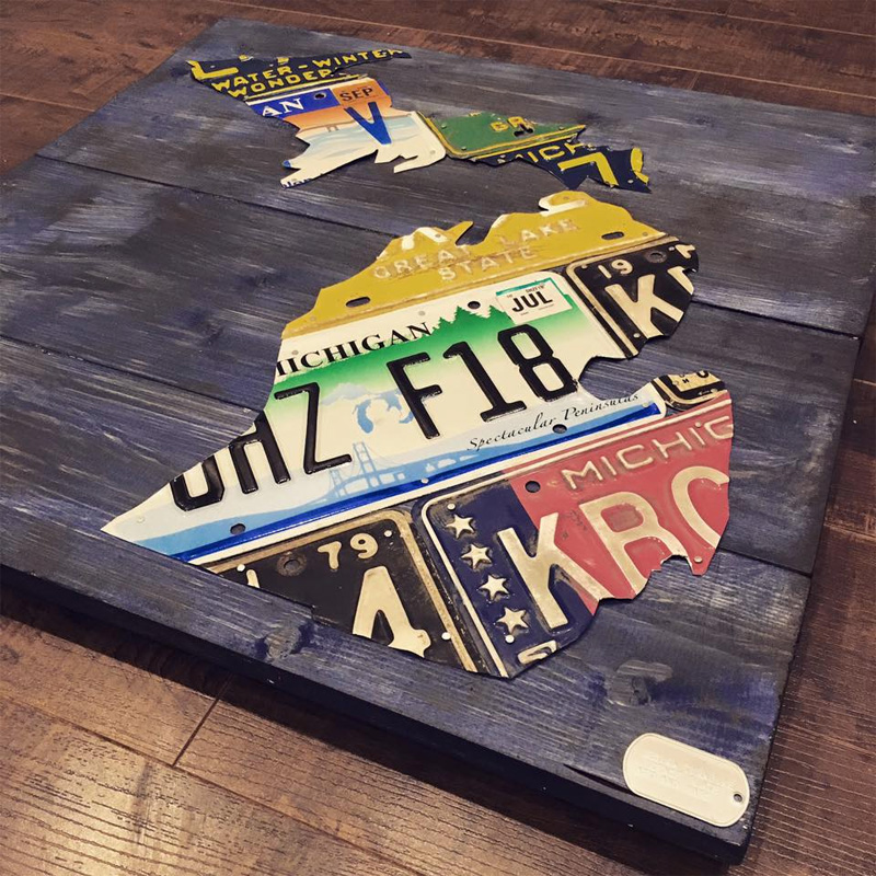Design Turnpike Finished License Plate Art and Map Pieces