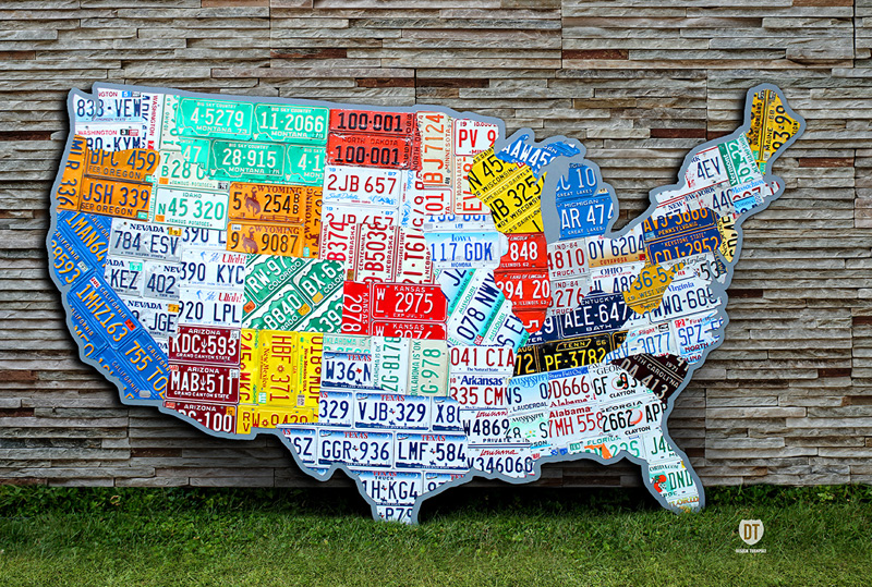 10 Amazing Things Made Using Recycled Vintage License Plates - Us-map-made-out-of-license-plates
