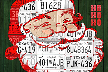 Purchase license plate art and license plate maps by design turnpike santa claus license plate art solutioingenieria Images