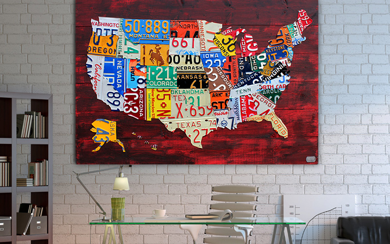 License Plate Art And License Plate Maps By Design Turnpike - Us-map-made-out-of-license-plates